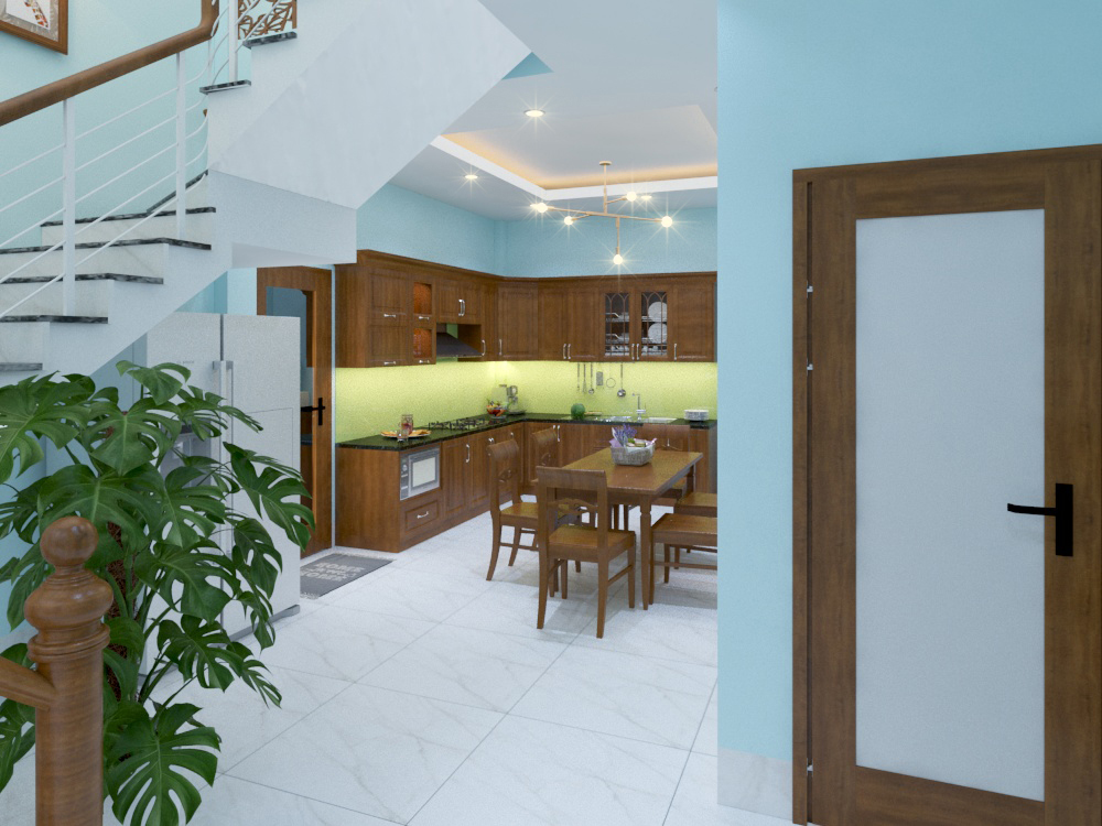 3D Khu bếp ăn và thang